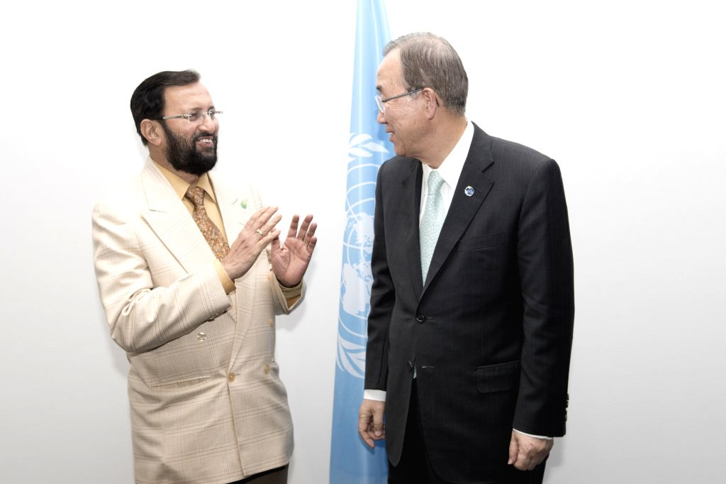 File photo of United Nations Secretary-General Ban Ki-moon (right) meeting Prakash Javadekar, Minister of Environment, Forests and Climate Change, on the margins of the UN Climate Change Conference ...