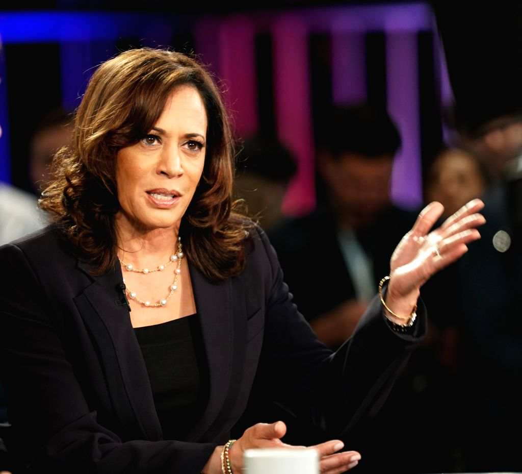 File photo taken on June 27, 2019 shows Senator Kamala Harris of California interviewed after the second night of the first Democratic primary debate in Miami, ...