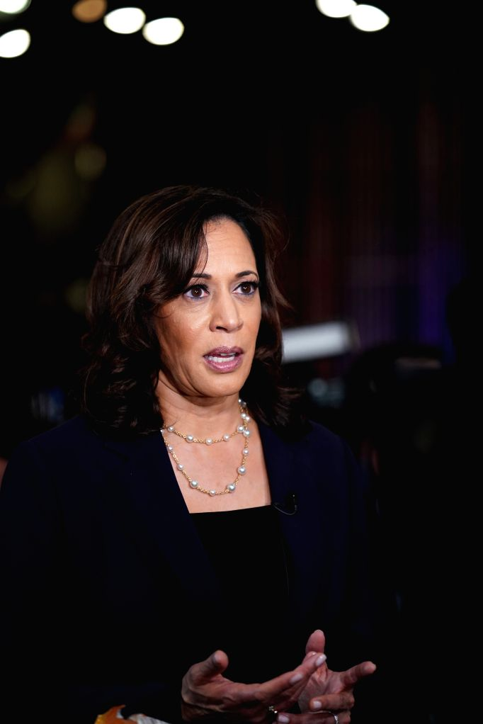 File photo taken on June 28, 2019 shows Senator Kamala Harris of California interviewed after the second night of the first Democratic primary debate in Miami, ...