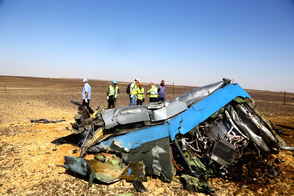 File photo taken on Nov. 1, 2015 shows the crash site of a Russian passenger plane at the Hassana area, north Egypt. Russian Federal Security Service (FSB) on Nov. ...