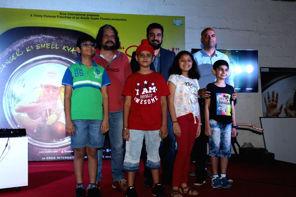 """Film director Amole Gupte and Businessman Raj Kundra during the song launch """"Naak"""" of film """"Sniff"""" in Mumbai on Aug 3, 2017. - Amole Gupte and Raj Kundra"""