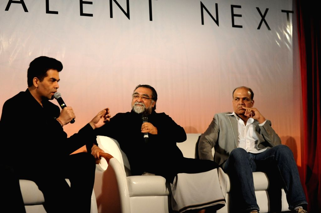 Film director and producer Karan Johar, film Ad mekar Prahlad Kakkar and film director Ashutosh Gowariker , during the launch of 'Talent Next' web site in Mumbai on July 11, 2016. - Ashutosh Gowariker and Karan Johar