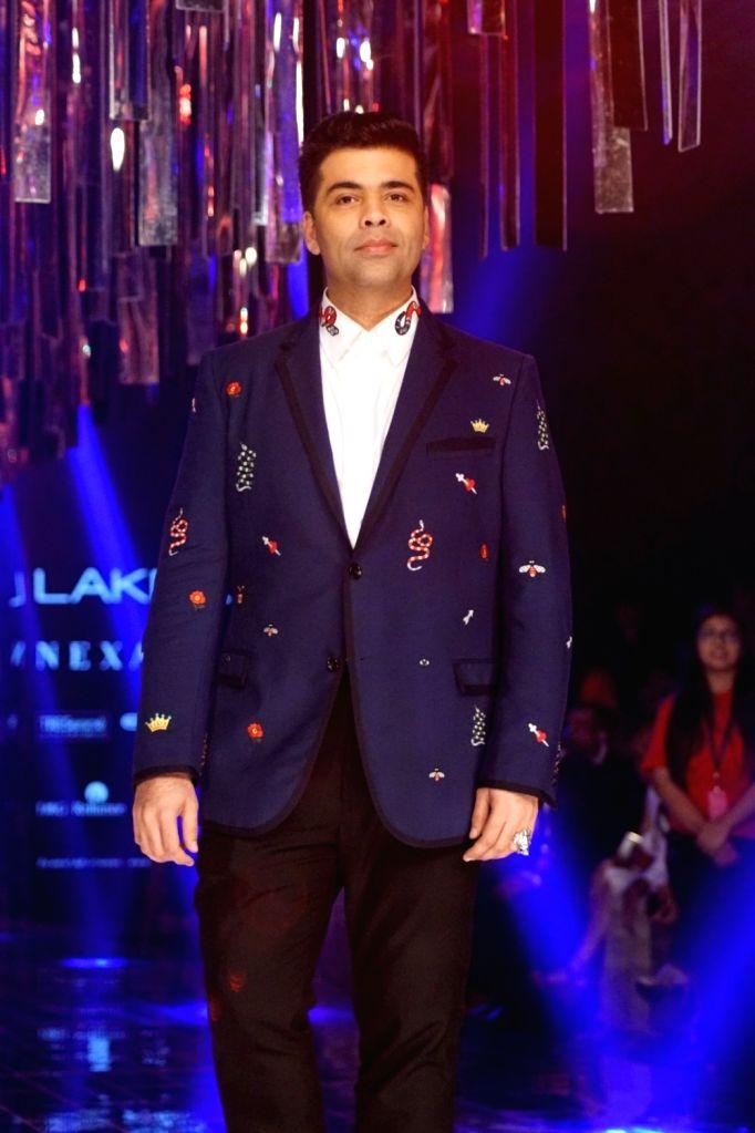 Film Director Karan Johar during the Lakme Fashion Week Winter/Festive 2017 in Mumbai on Aug 20, 2017. - Karan Johar