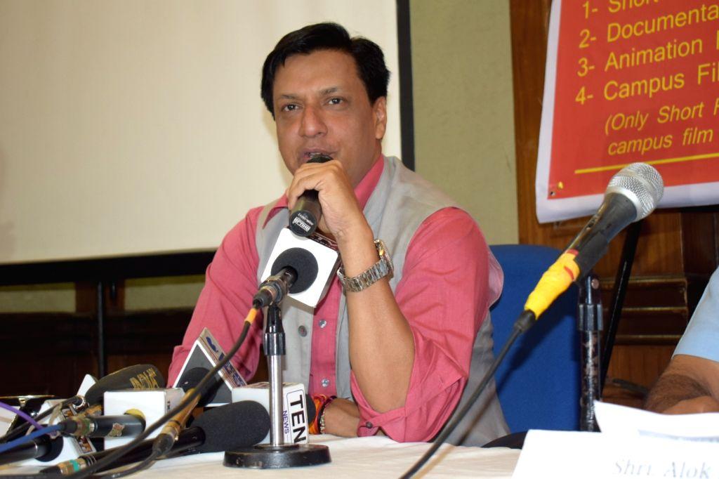 Film director Madhur Bhandarkar addresses a press conference in New Delhi on Aug 18, 2017. - Madhur Bhandarkar