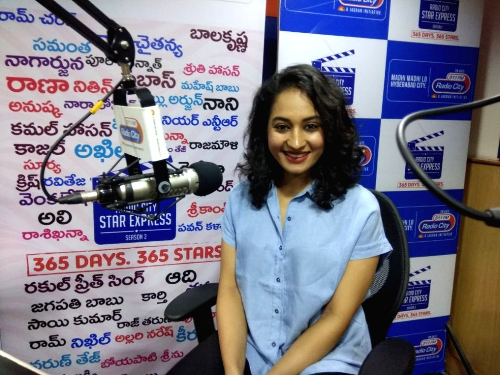 Film Inthalo Enneni Vinthalo actress Pooja Ramachandran during the promotion of her film at RadioCity FM. - Pooja Ramachandran