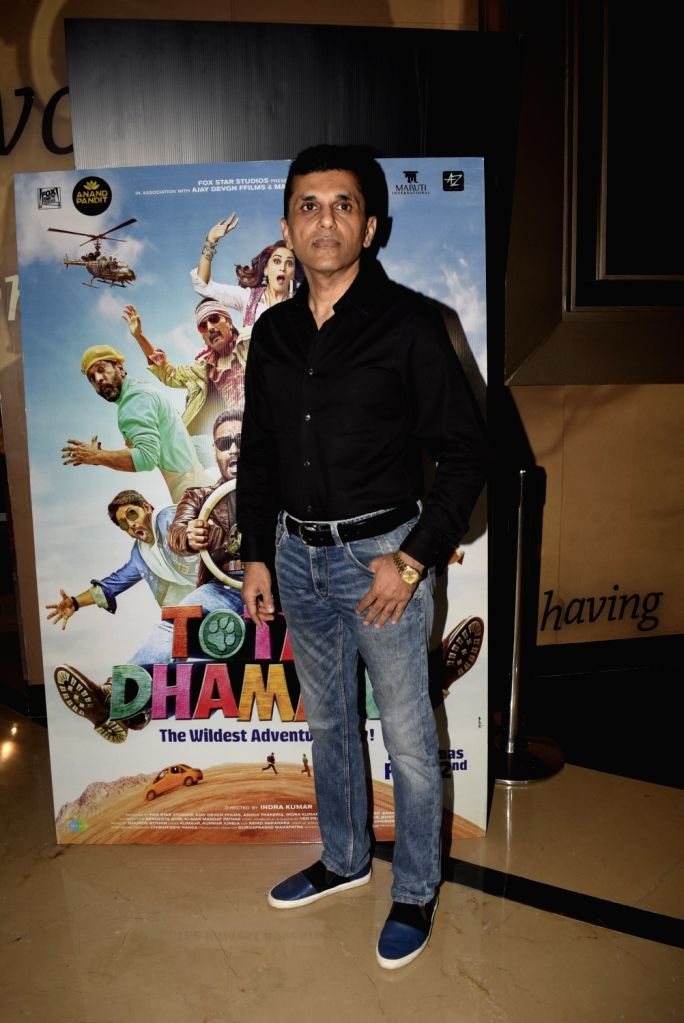 """Film producer Anand Pandit at the screening of film """"Total Dhamaal"""" in Mumbai on Feb 22, 2019."""