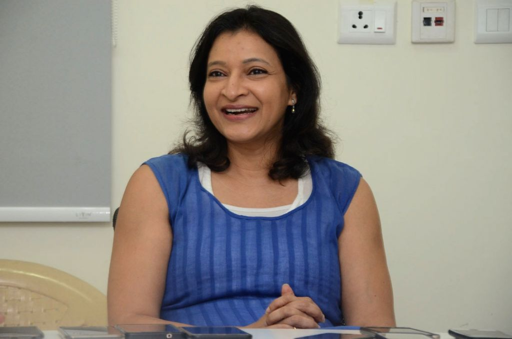 Film producer Manjula Ghattamaneni during a interview in Hyderabad.