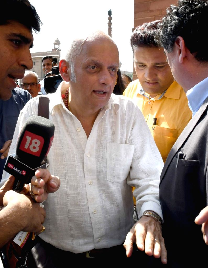 Film producer Mukesh Bhatt comes out after meeting Union Home Minister Rajnath Singh at North Block in New Delhi on Oct 20, 2016. - Rajnath Singh