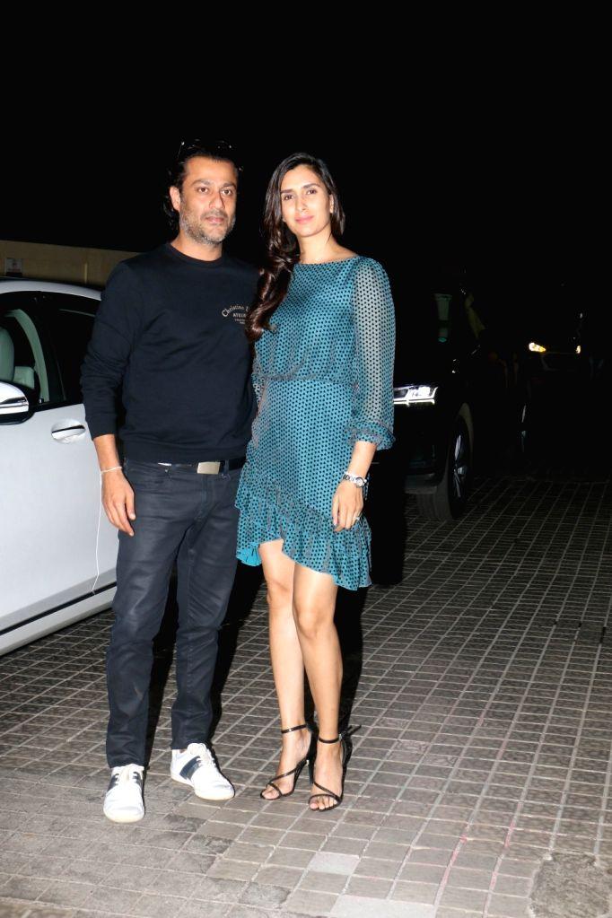 "Filmmaker Abhishek Kapoor with his wife Pragya Yadav at the screening of upcoming film ""Kedarnath"" in Mumbai on Dec 5, 2018. - Abhishek Kapoor and Pragya Yadav"