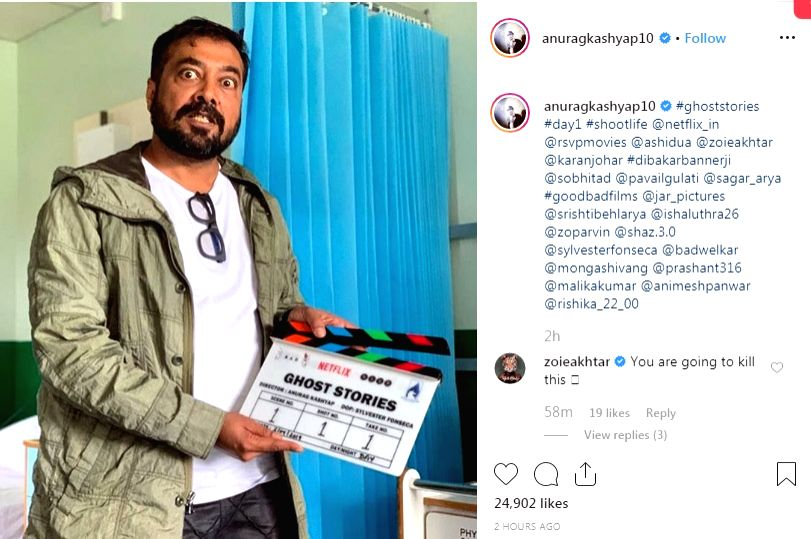 "Filmmaker Anurag Kashyap on Tuesday commenced the shoot of his short film for the upcoming Netflix anhtology, ""Ghost Stories"". - Anurag Kashyap"