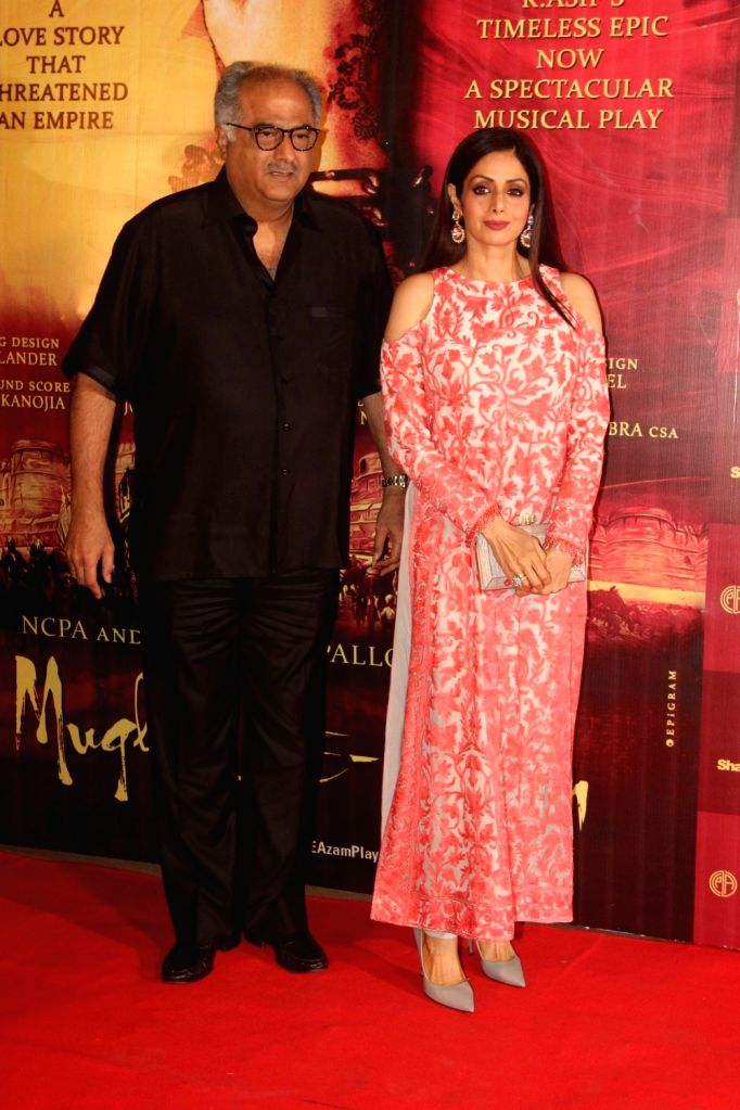 Filmmaker Boney Kapoor along with his wife and actor Sridevi during the red carpet of musical play Mughal E Azam, in Mumbai,  on Oct 21, 2016. - Boney Kapoor