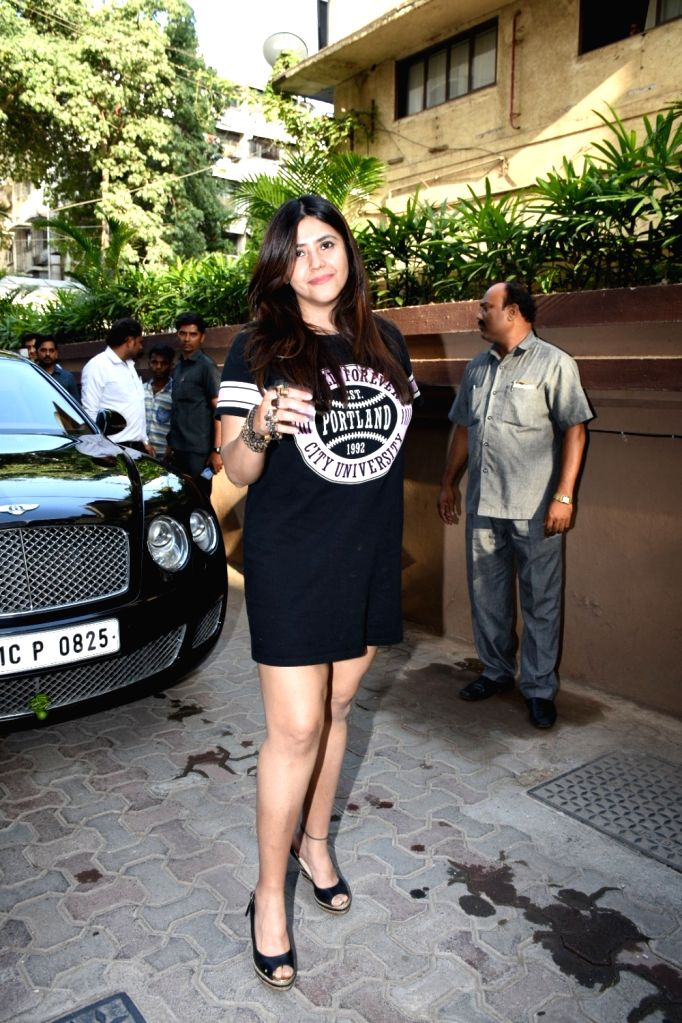 Filmmaker Ekta Kapoor arrives to attend birthday party of her brother Tusshar Kapoor's son Laksshya in Mumbai on June 1, 2019. - Ekta Kapoor and Tusshar Kapoor