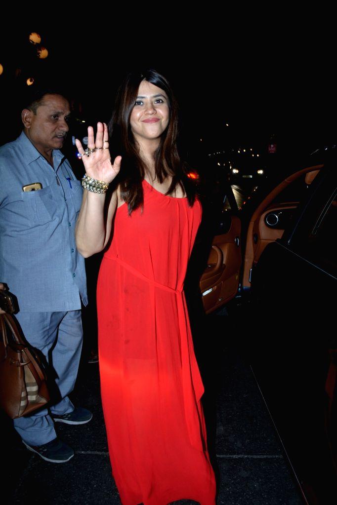Filmmaker Ekta Kapoor at actress Krystle D'Souza's birthday celebration in Mumbai on March 1, 2019. - Ekta Kapoor