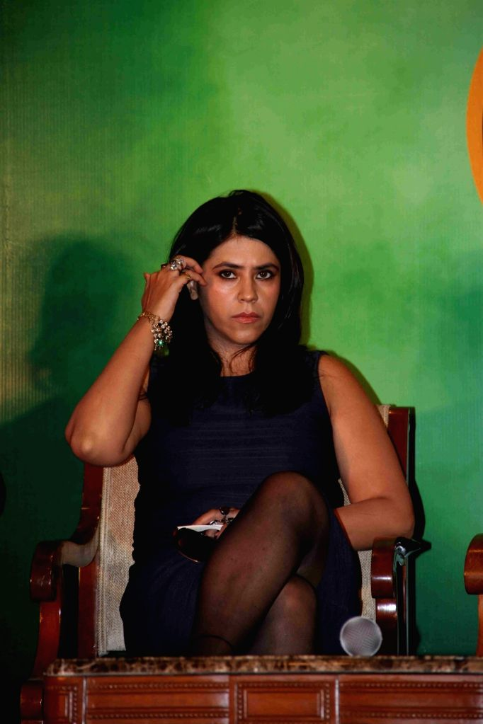 Filmmaker Ekta Kapoor during the press conference on the issue of piracy and online leak of the film Great Grand Masti, in Mumbai, on July 16, 2016. - Ekta Kapoor