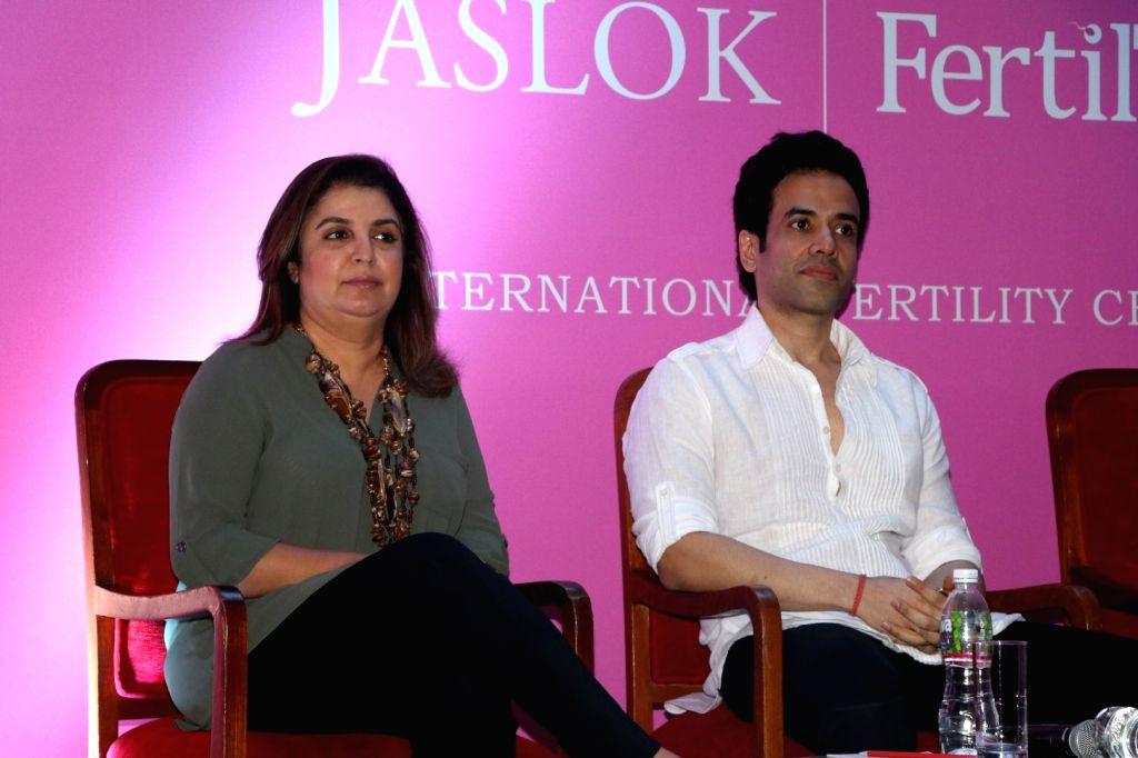 Filmmaker Farah Khan and actor Tusshar Kapoor during the launch of Jaslok hospital`s new wing Jaslok Fertility Tree, in Mumbai, on Aug 15, 2016. - Farah Khan and Tusshar Kapoor