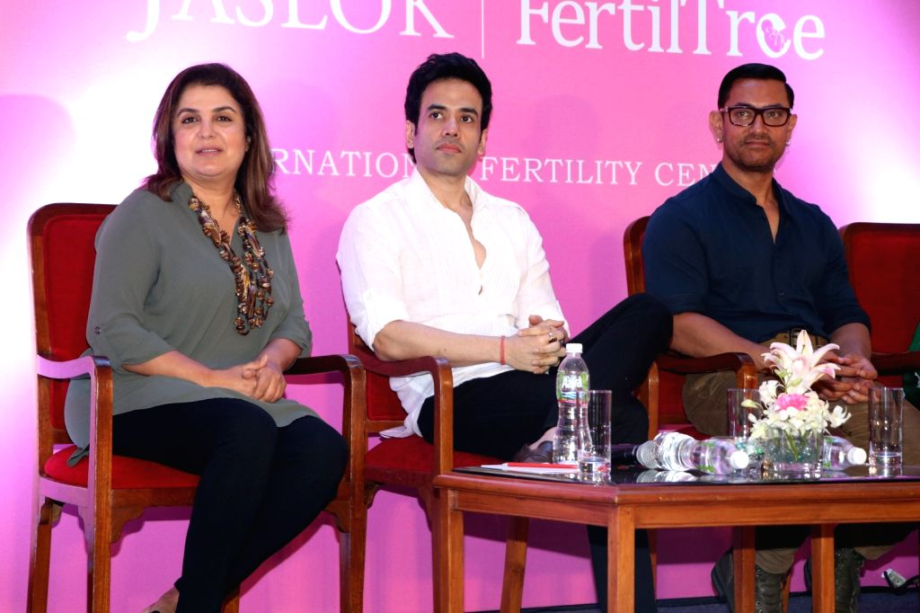 Filmmaker Farah Khan and actors Tusshar Kapoor and Aamir Khan during the launch of Jaslok hospital`s new wing Jaslok Fertility Tree, in Mumbai, on Aug 15, 2016. - Farah Khan, Tusshar Kapoor and Aamir Khan