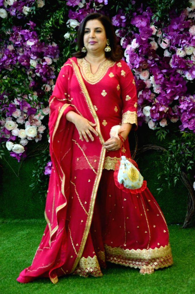 Filmmaker Farah Khan at the wedding festivities of Akash Ambani and Shloka Mehta in Mumbai on March 9, 2019. - Farah Khan, Akash Ambani and Shloka Mehta