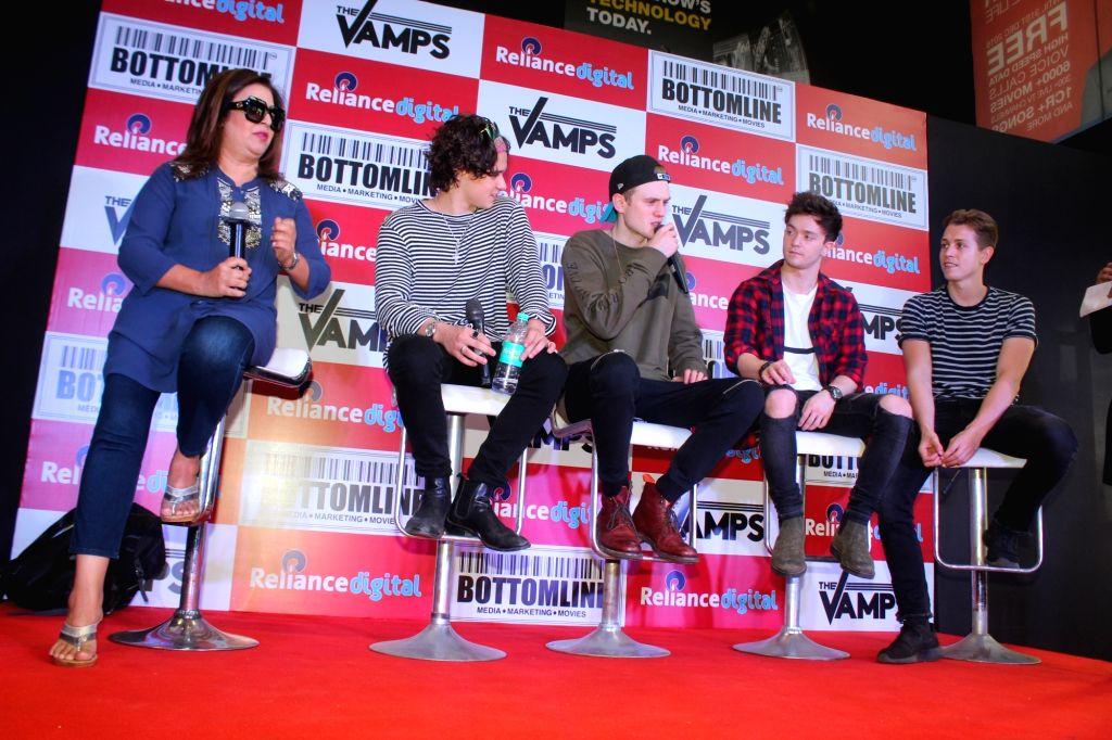 Filmmaker Farah Khan, British band The Vamps members Bradley Simpson, Tristan Evans, James McVey and Connor Ball during a media interaction of a music video, in Mumbai on Nov 19, 2016. - Farah Khan
