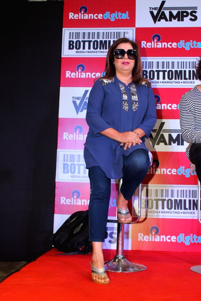 Filmmaker Farah Khan during a media interaction of a music video with the British band The Vamps in Mumbai on Nov 19, 2016. - Farah Khan
