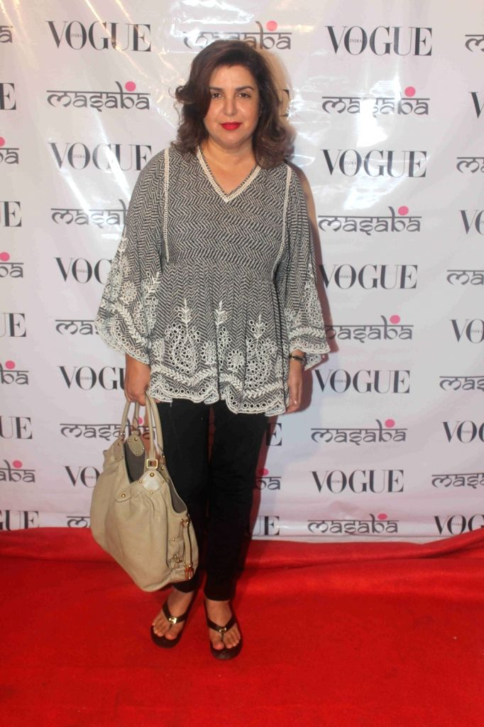 Filmmaker Farah Khan during the launch of festival collection by designer Masaba Gupta in Mumbai on Aug 20, 2016. - Farah Khan and Masaba Gupta