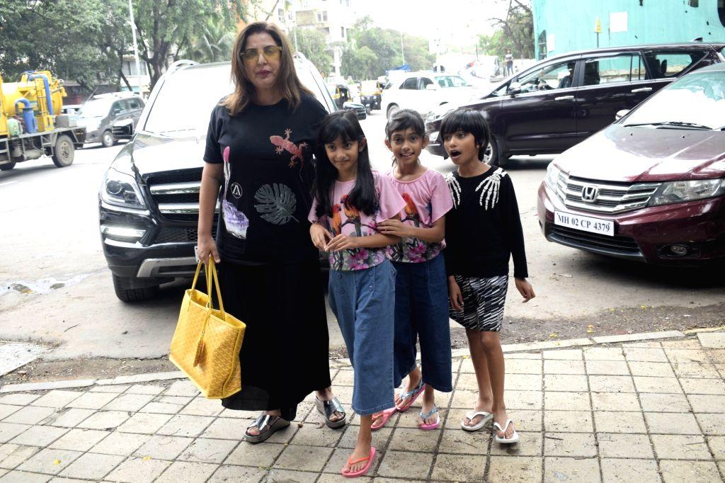Filmmaker Farah Khan seen at a salon in Juhu, Mumbai's Bandra on July 24, 2018. - Farah Khan