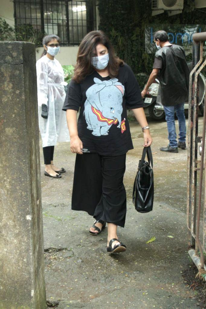 Filmmaker Farah Khan seen at Juhu in Mumbai on Oct 15, 2020. - Farah Khan