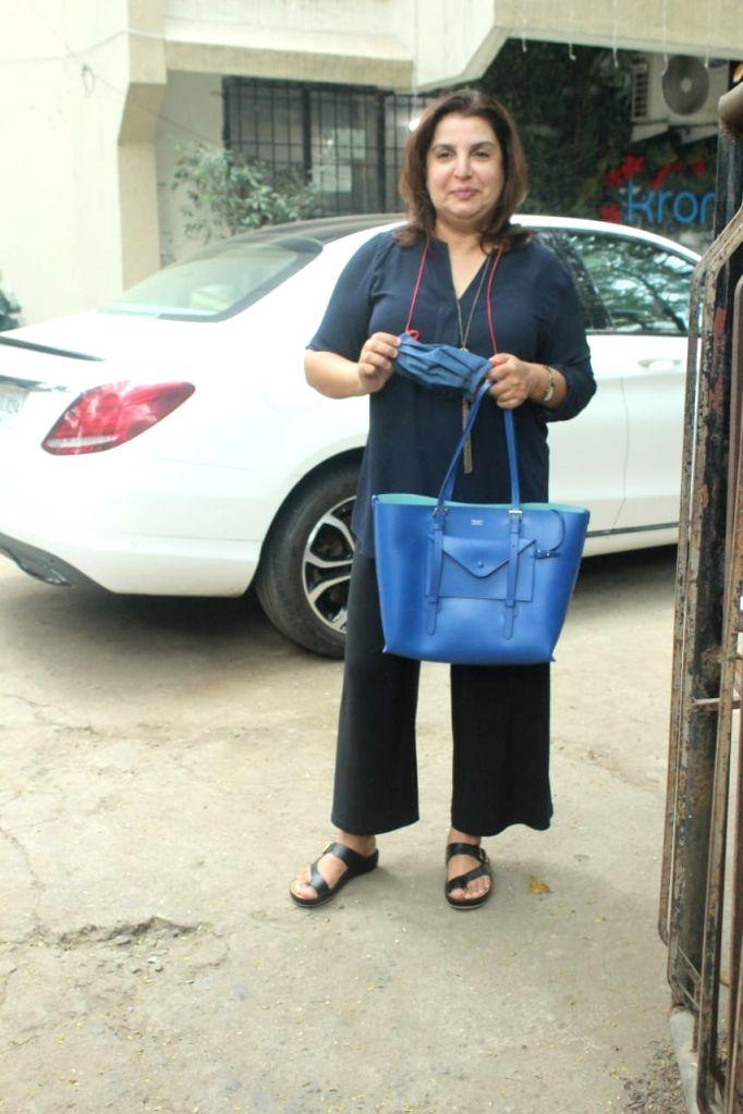 Filmmaker Farah Khan seen at Juhu in Mumbai on Jan 9, 2021. - Farah Khan
