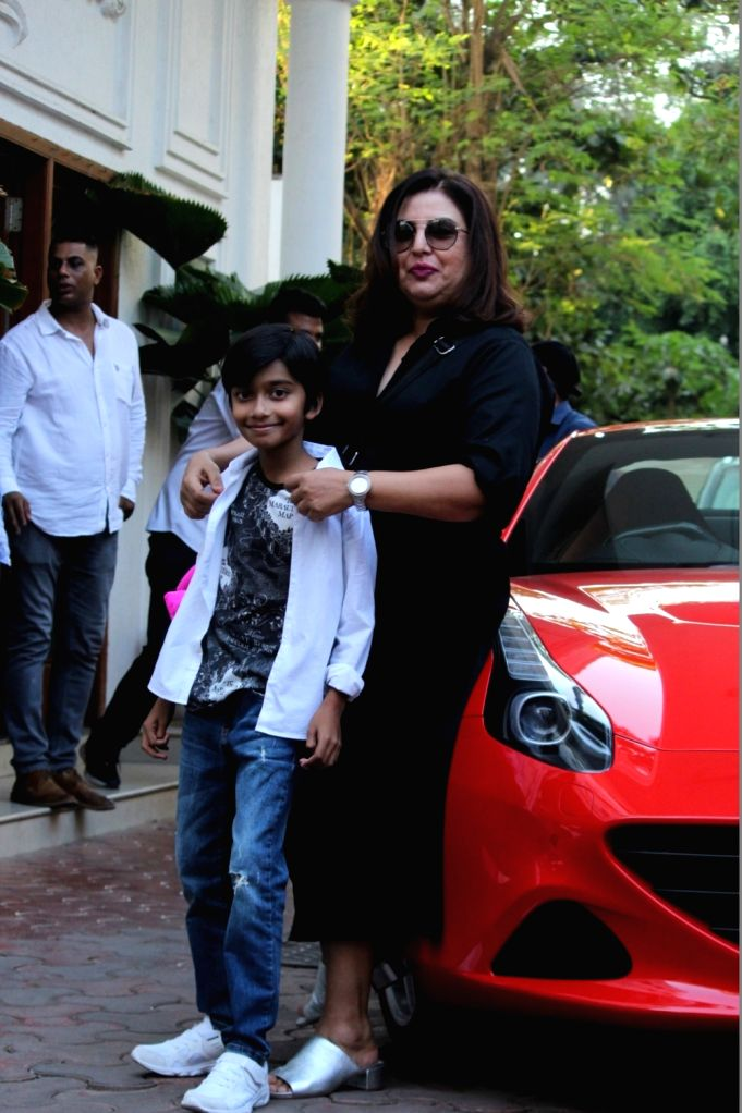 Filmmaker Farah Khan with her son Czar Kunder  during birthday celebrations of actress Shilpa Shetty's son Viaan in Mumbai on May 25, 2019. - Farah Khan and Shilpa Shetty