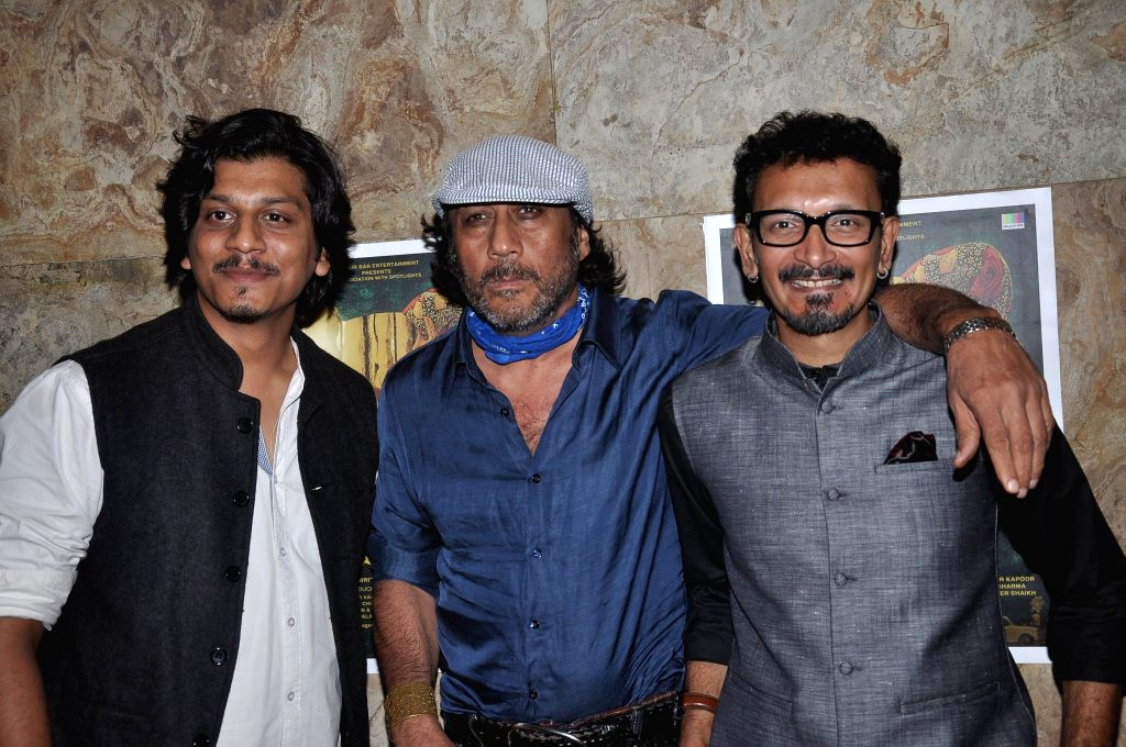 Filmmaker Faraz Ali actor Jackie Shroff and filmmaker Abbas Syed during the screening of Short film Makhmal in Mumbai on July 11, 2014. - Faraz Ali