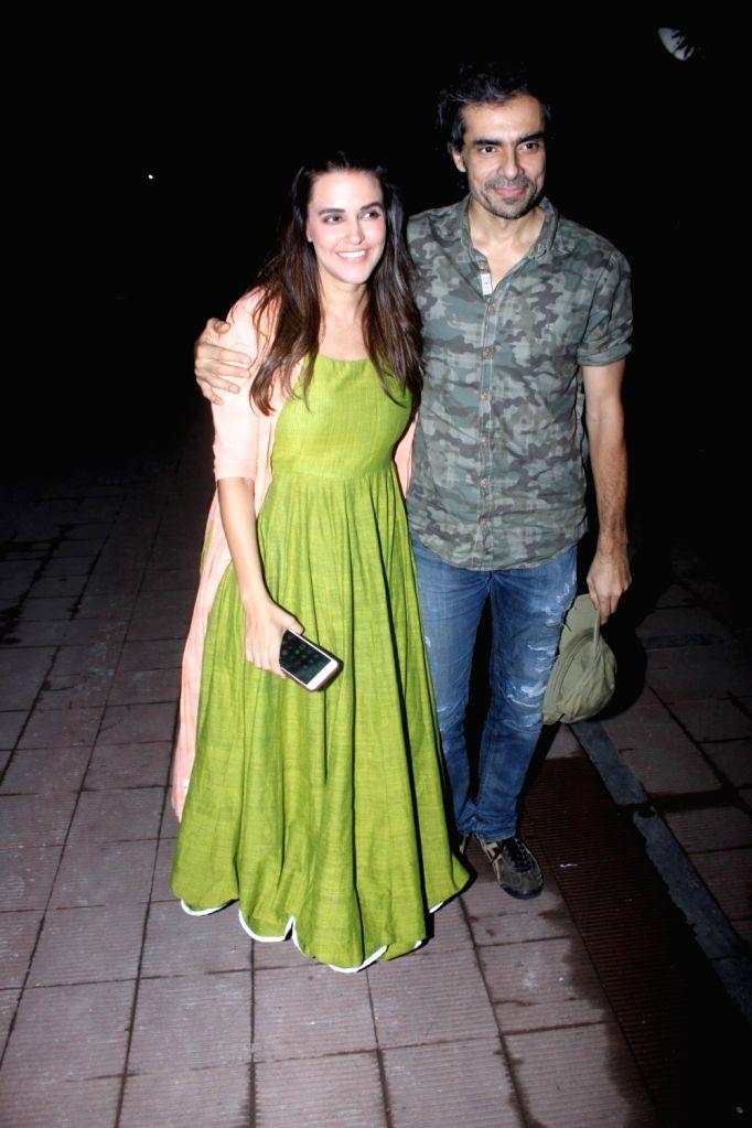 Filmmaker Imtiaz Ali and Neha Dhupia during the recording of NoFilter Neha Season 2 in Mumbai, on June 23, 2017. - Imtiaz Ali and Neha Dhupia
