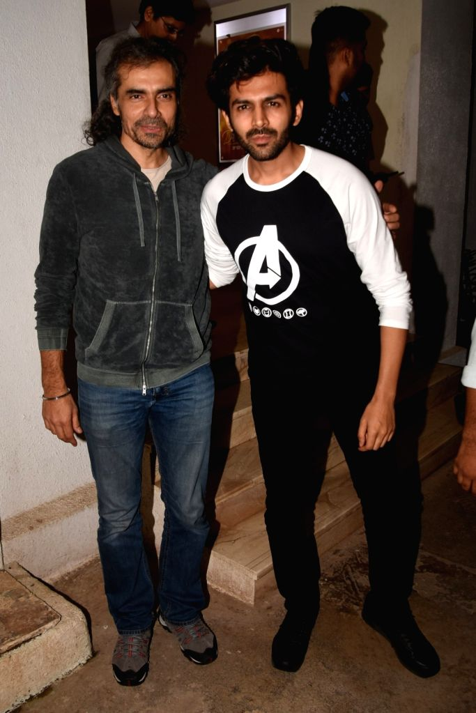 "Filmmaker Imtiaz Ali with Kartik Aaryan at the screening of the upcoming web series ""Fixer"" on Oct 8, 2019. - Imtiaz Ali"
