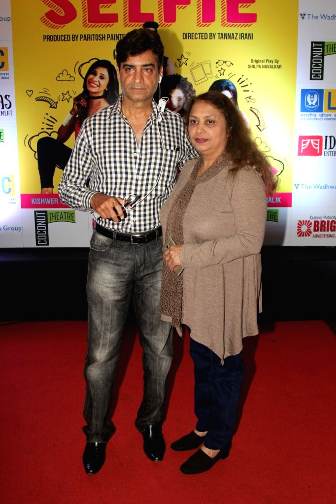 Filmmaker Indra Kumar along with his wife during the premiere of English play Selfie in Mumbai, on August 12, 2016. - Indra Kumar