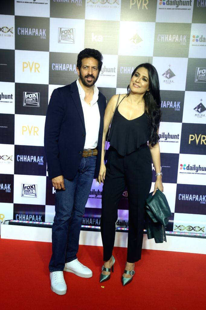 """Filmmaker Kabir Khan and his wife Mini Mathur at the screening of the film """"Chhapaak"""" in Mumbai on Jan 8, 2020. - Kabir Khan"""