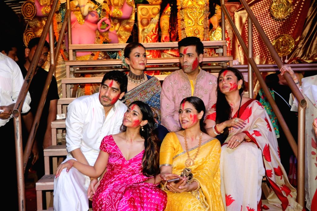 Filmmaker Karan Johan with actors Ayan Mukerji, Kajol, Tanishaa Mukerji and Rani Mukerji during Vijaya Dashami celebrations, in Mumbai on Oct 8, 2019. - Karan Johan, Ayan Mukerji, Kajol, Tanishaa Mukerji and Rani Mukerji