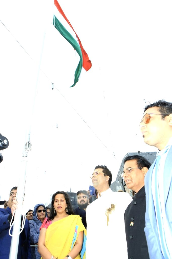 Filmmaker Karan Johar hoists the Indian tricolour at Federation Square in Melbourne, Australia. Desis' from across the city gathered at Federation Square here on Saturday to see Karan hoisting the ... - Karan Johar