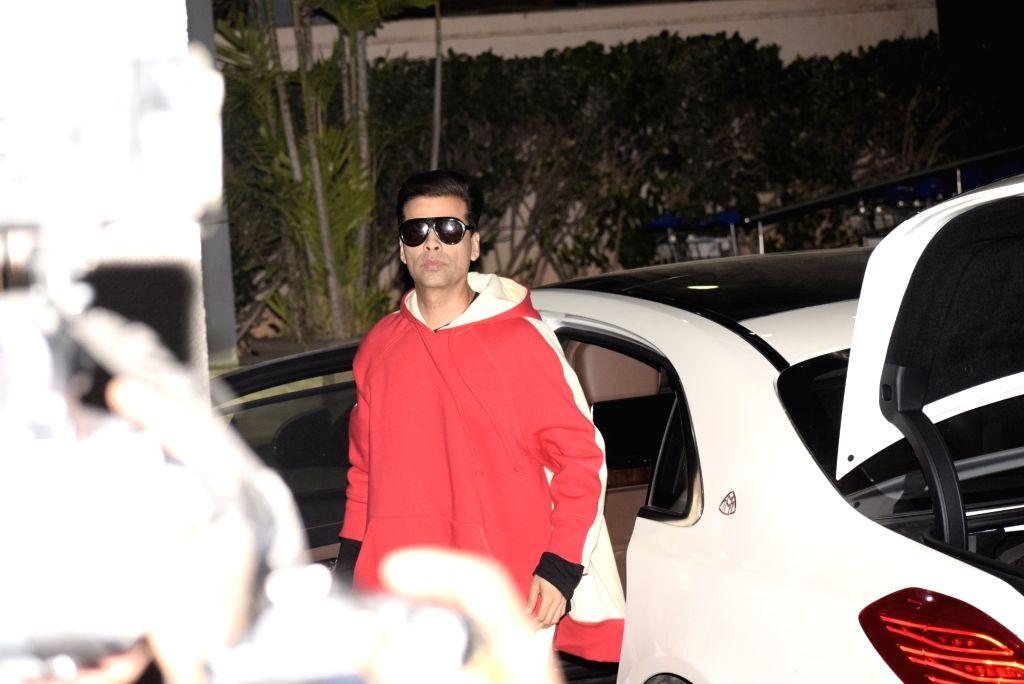 Filmmaker Karan Johar leaves for a pre-wedding bash in Switzerland for Reliance Industries Chairman Mukesh Ambani's son Akash Ambani and diamantaire Russell Mehta's daughter Shloka Mehta in ... - Karan Johar, Mukesh Ambani, Akash Ambani and Shloka Mehta