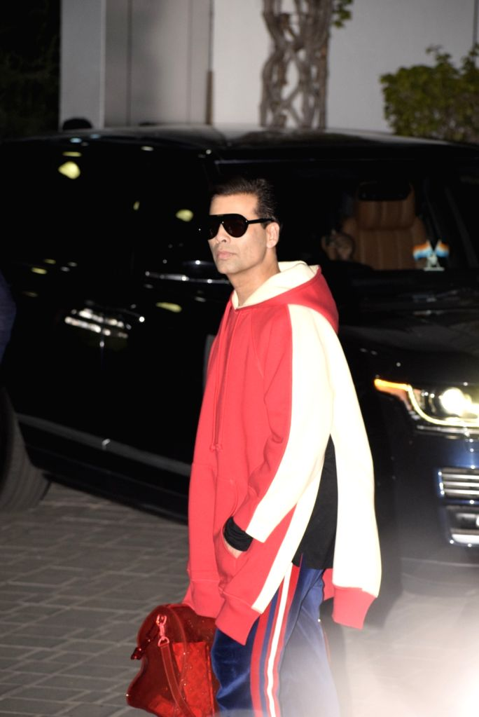 Filmmaker Karan Johar leaves for a pre-wedding bash in Switzerland for Reliance Industries Chairman Mukesh Ambani's son Akash Ambani and diamantaire Russell Mehta's daughter Shloka Mehta in ... - Karan Johar, Mukesh Ambani, Akash Ambani and Shloka Mehta