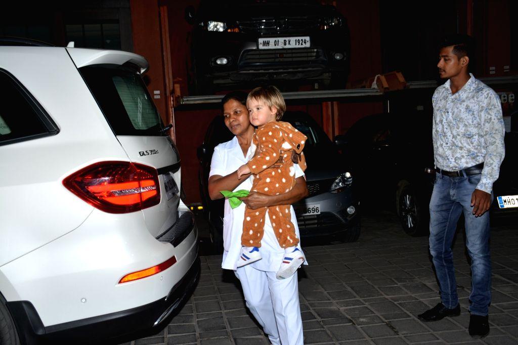Filmmaker Karan Johar's son Yash Johar seen at Arpita Khan's Halloween party in Mumbai on Oct 31, 2018. - Karan Joha and Arpita Khan