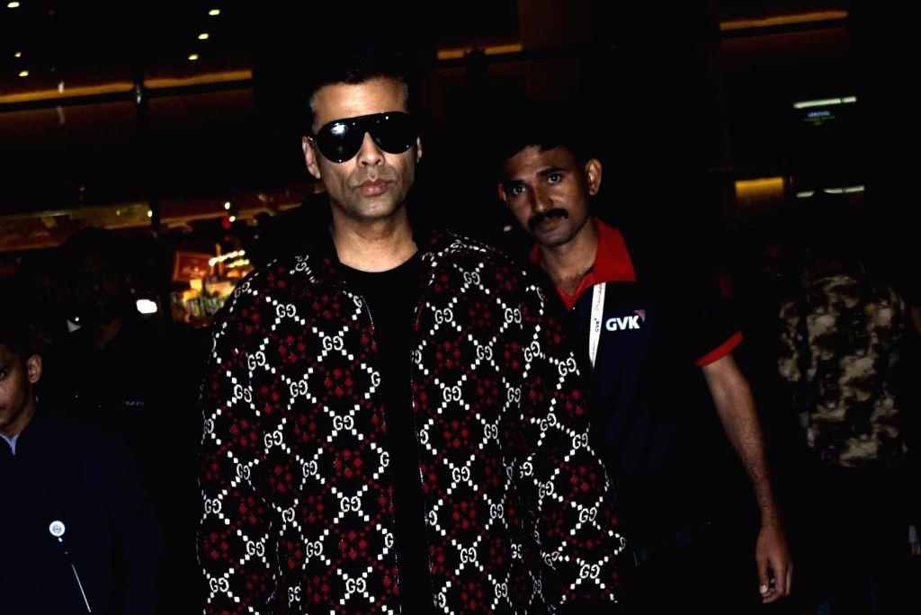 Filmmaker Karan Johar seen at airport in Mumbai, on Feb 15, 2019. - Karan Johar