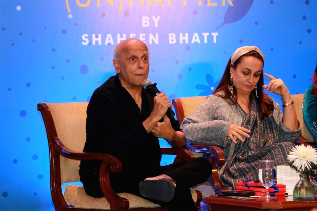 "Filmmaker Mahesh Bhatt accompanied by his wife Soni Razdan, addresses at the launch of his daughter Shaheen Bhatt's book ""I've Never Been (un)Happier"" in Mumbai on Dec 4, 2019. - Mahesh Bhatt"