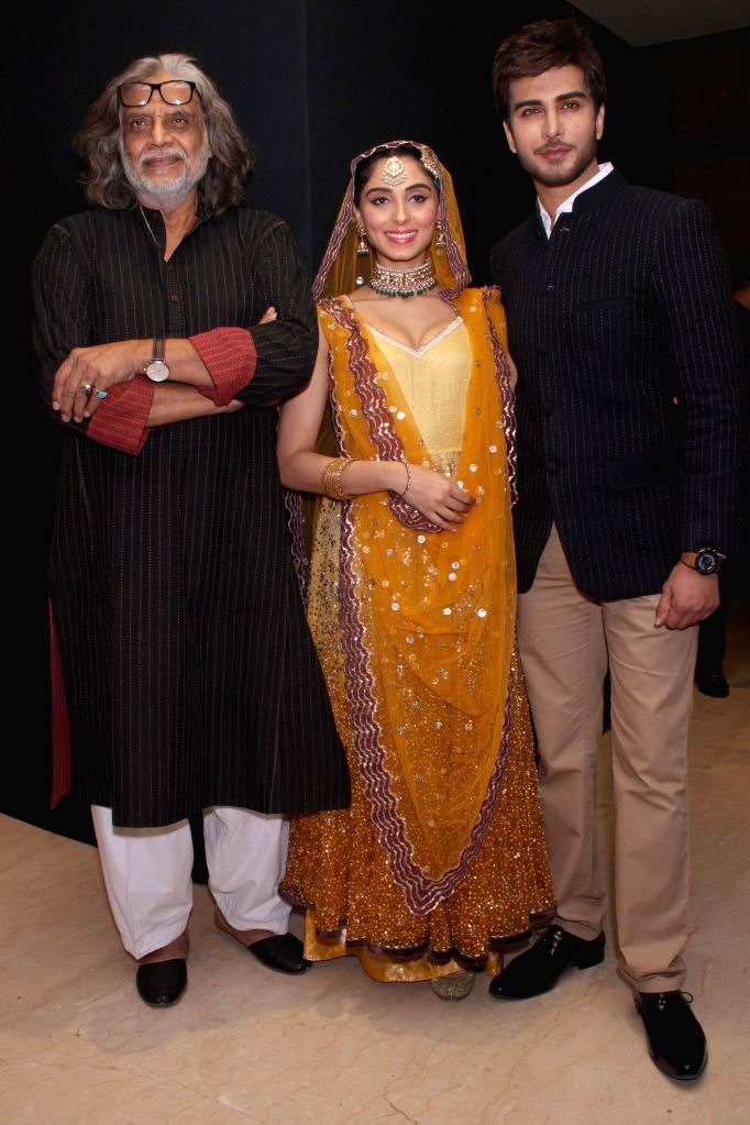 Filmmaker Muzaffar Ali with producer Meera Ali and actors Imran Abbas and Pernia Qureshi during the music launch of upcoming film  `Jaanisaar` in New Delhi, on Aug 5, 2015. - Muzaffar Ali, Imran Abbas and Pernia Qureshi
