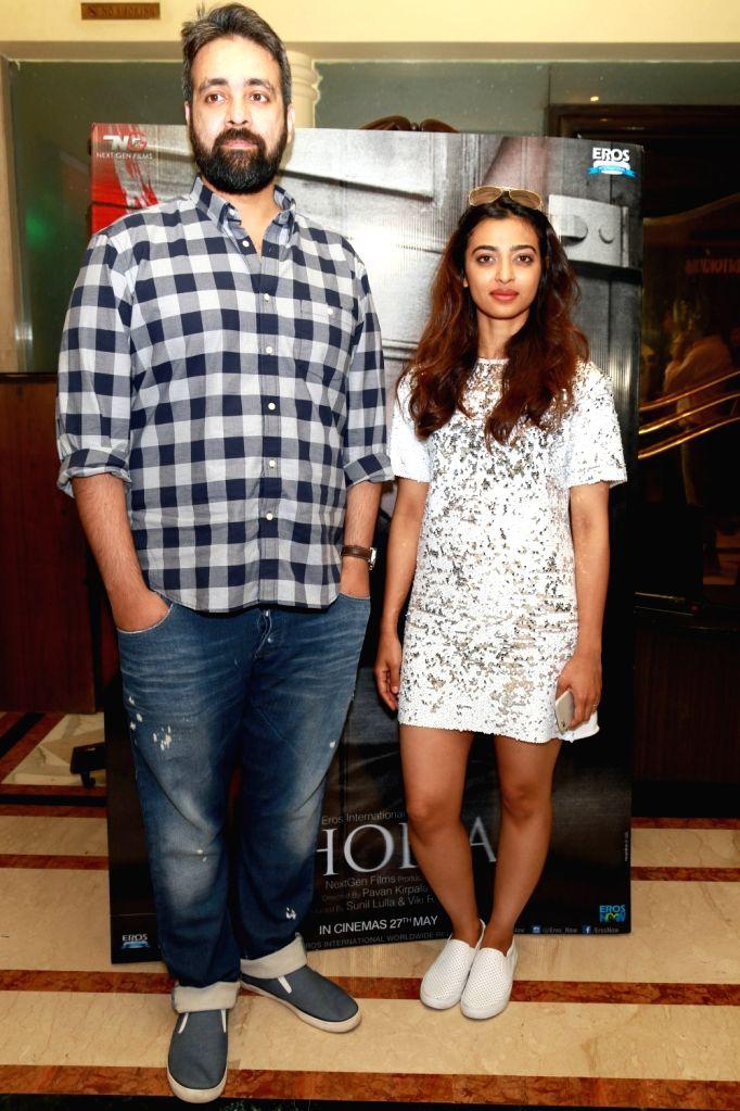 "Filmmaker Pawan Kirpalani with actress Radhika Apte during a press conference regarding their upcoming film ""Phobia"" in New Delhi, on May 24, 2016. - Pawan Kirpalani"