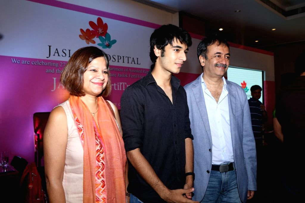 Filmmaker Rajkumar Hirani with wife Manjeet Hirani and son Vir Hirani during the launch of Jaslok hospital`s new wing Jaslok Fertility Tree, in Mumbai, on Aug 15, 2016. - Rajkumar Hirani
