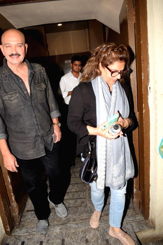 Filmmaker Rakesh Roshan along with his wife Pinky Roshan seen at a cinema theater in Mumbai on Feb 1, 2018. - Rakesh Roshan