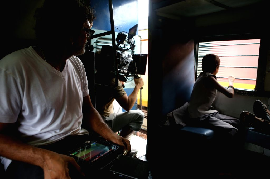 "Filmmaker Rakeysh Omprakash Mehra during shooting of ""Mere Pyaare Prime Minister"" in a train compartment on June 30, 2017. - Rakeysh Omprakash Mehra"