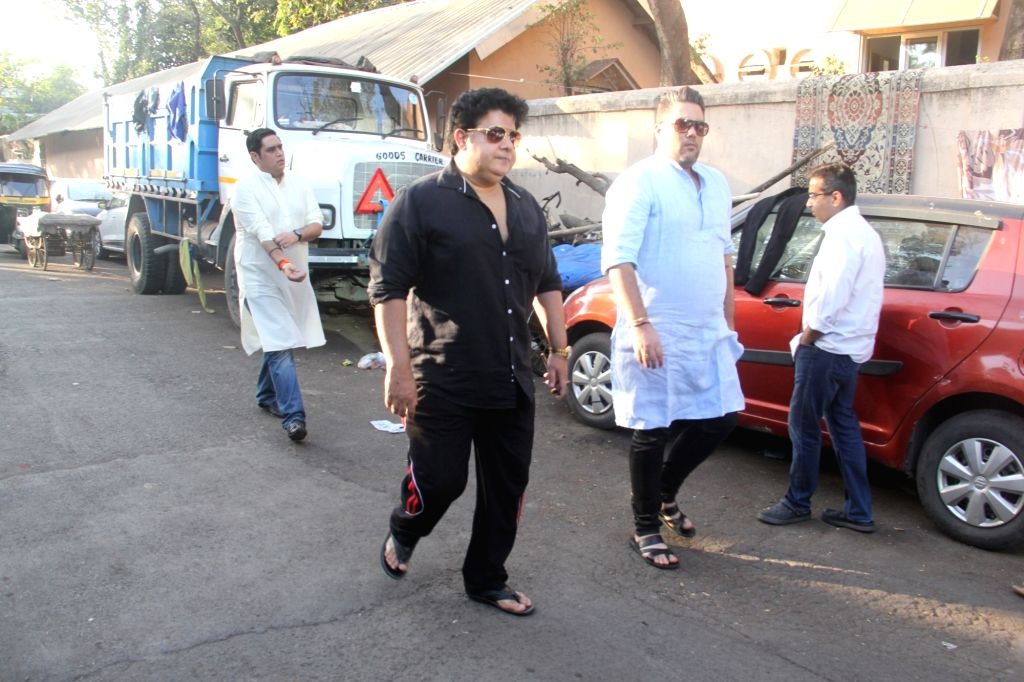 Filmmaker Sajid Khan at the funeral of filmmaker Vikram Phadnis' mother Ranjan Phadnis in Mumbai on Feb 10, 2019. - Sajid Khan