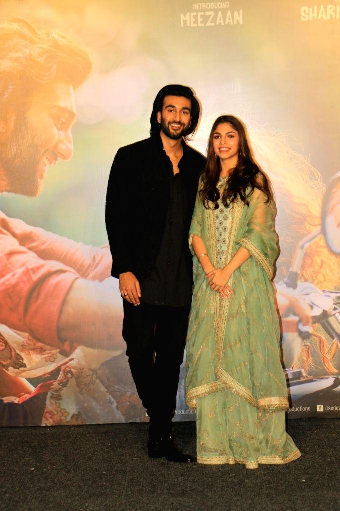 "Filmmaker Sanjay Leela Bhansali's niece Sharmin Segal and Jaaved Jaaferi's son Meezaan at the trailer launch of their upcoming film ""Malaal"" in Mumbai, on May 18, 2019. - Sanjay Leela Bhansal"