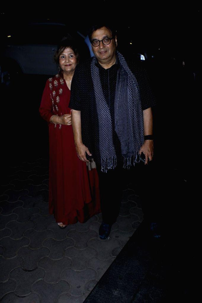 Filmmaker Subhash Ghai along with his wife Mukta Ghai during the screening of film Tubelight, in Mumbai, on June 22, 2017. - Subhash Ghai