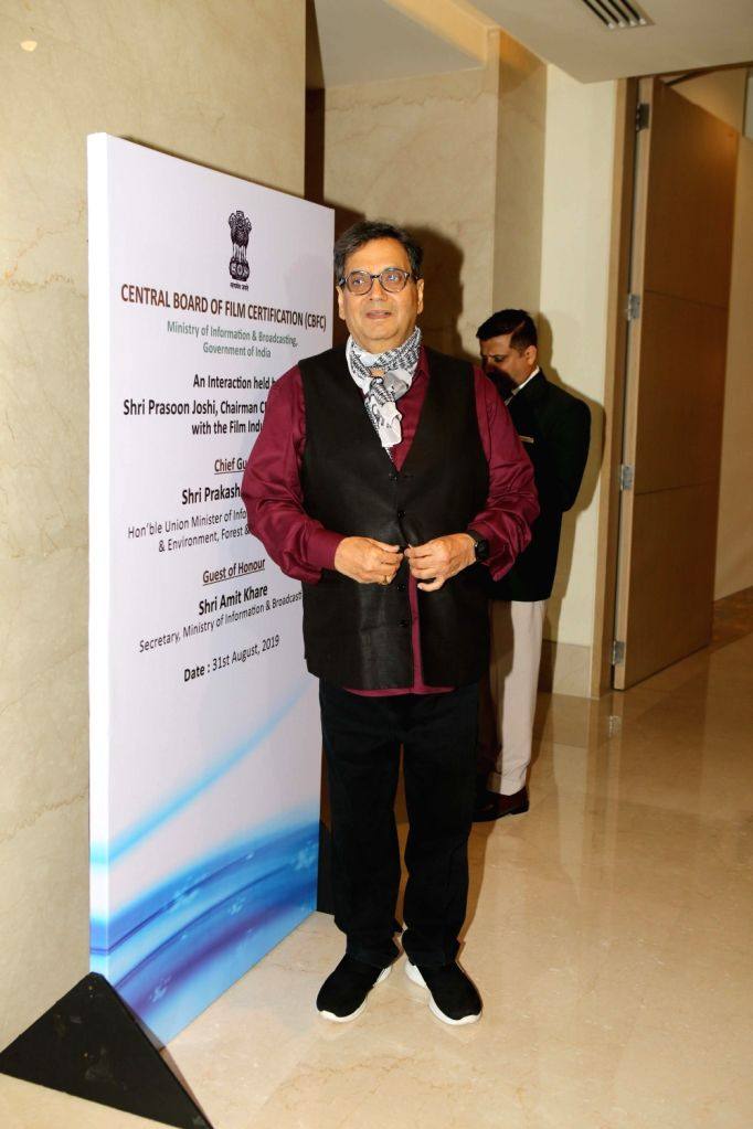 Filmmaker Subhash Ghai during the launch of the new logo and certificate design of Central Board of Film Certification (CBFC) in Mumbai on Sept 1, 2019. - Subhash Ghai
