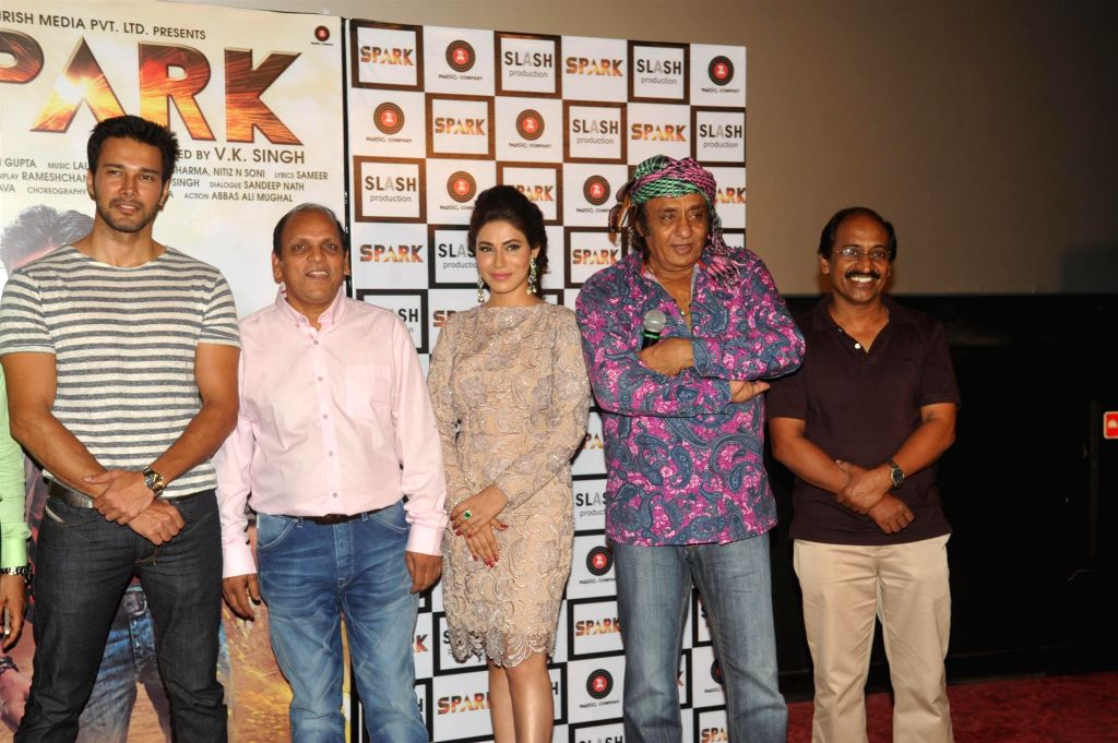 Filmmaker V K Singh, actors Rajneesh Duggal, Mansha Bahl and Ranjeet during the trailer launch of film Spark in Mumbai on July 21, 2014. - V K Singh, Rajneesh Duggal, Mansha Bahl and Ranjeet